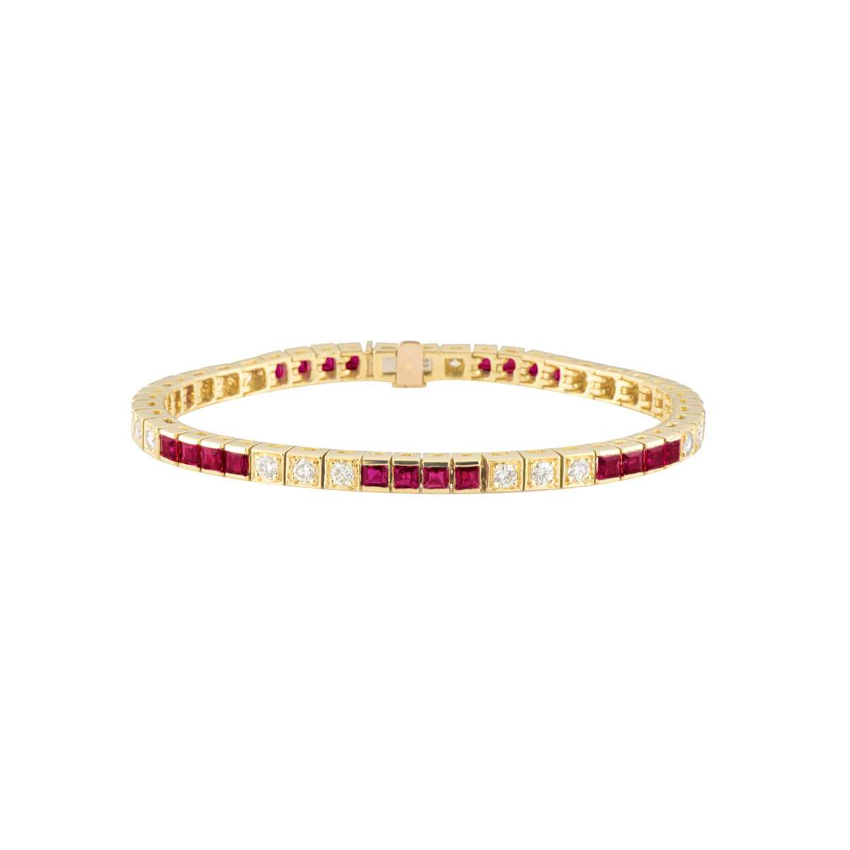 Yellow Gold Diamond and Ruby Bracelet